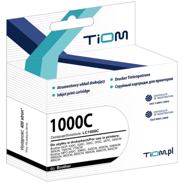 Tusz zamiennik Brother LC1000C Cyan
