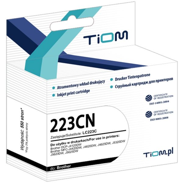 Tusz zamiennik Brother LC223C Cyan