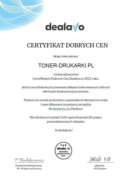 Certyfikat Dobrych cen dla Toner-Drukarki